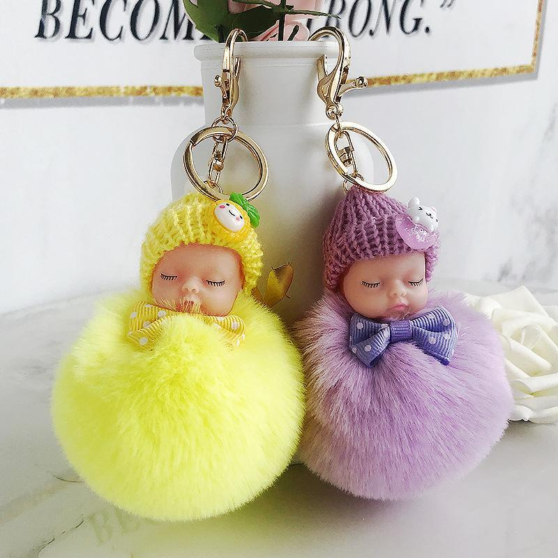 귀여운 잠자는 아기 인형 키 체인 활 응원 볼 카라비너 열쇠 고리 열쇠 고리 여성 키즈 키 홀더 가방 펜던트 키 링 호의 RRA2896