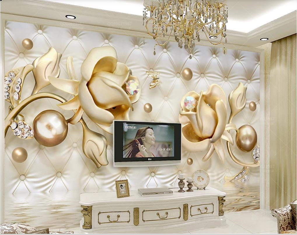 사용자 정의 배경 화면 고전적인 그림은 3D 스테레오 황금 소프트 가방 둥근 구슬 보석 wallppaers의 TV 배경 벽 장미 배경 화면