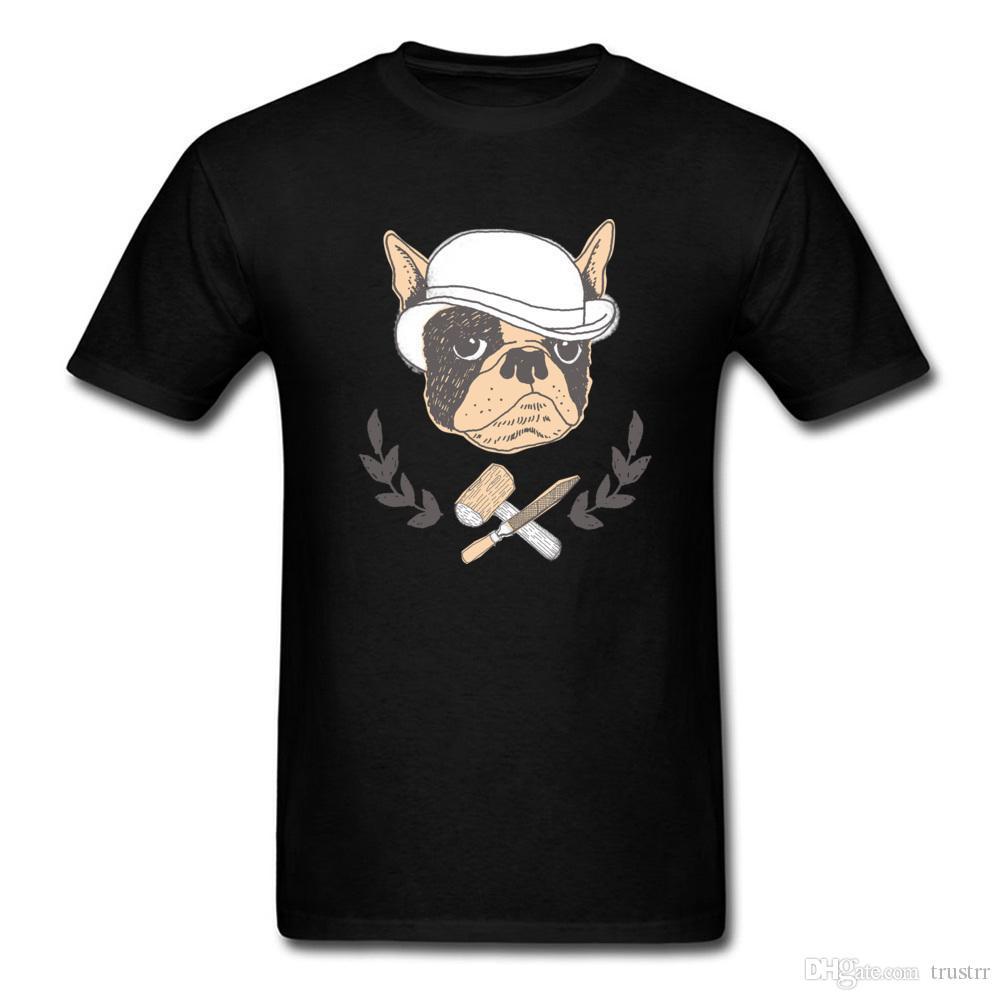 2020 Özel Pug Komik tişört Erkekler Vintage Karikatür Köpek Çizim Kısa Kollu Tees En Pamuk Giyim Baskı Black