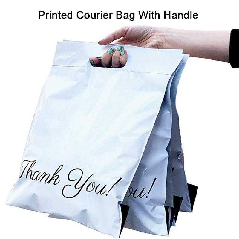 50PCS مطبوعة حمل حقيبة صريحة حقيبة مع مقبض الساعي الذاتي ختم لاصق سميك مقاوم للماء البريدية البلاستيكية بولي مغلف