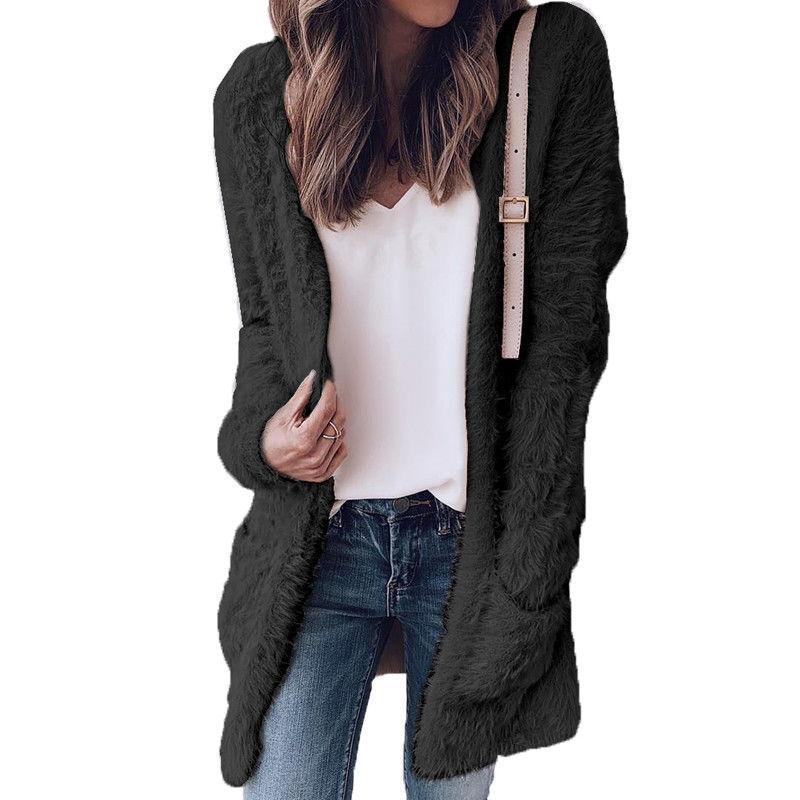 여성 재킷 2021 여성 겨울 따뜻한 양털 혼합 긴 카디건 자켓 숙녀 캐주얼 솔리드 루즈 겉옷 탑스 솜털 코트