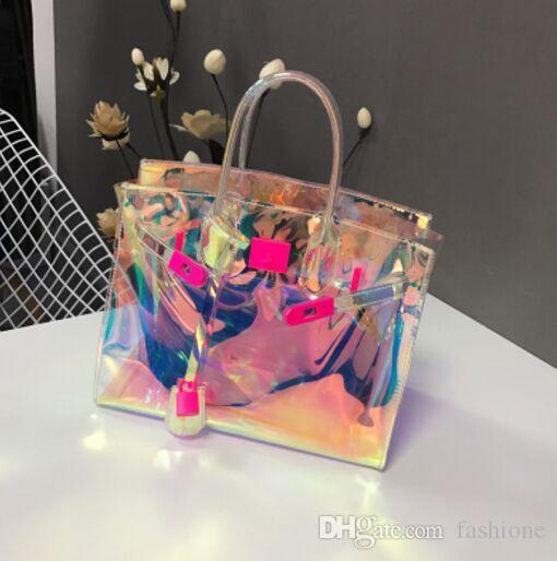 Tote Girl Handbags Bolsas Pink Jelly Shoulder Bag Transparent Hologram Laser Messenger Bag Women Female Harajuku Big