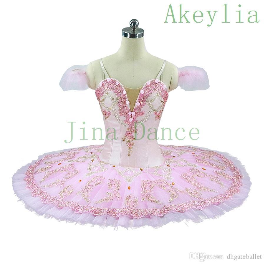Acheter Ballet Professionnel Tutus Crème Rose Adulte Plateau Performance Fée Poupée Crêpe Tutus Femmes Classique Ballet Costumes De Stage Robe De