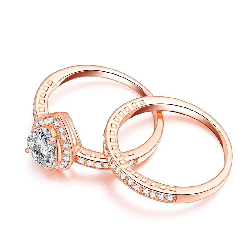 Key4fashion 2019 hot Luxury Jewelry Women Wedding Rainbow couple heart 4ct zircon diamond rose Gold Filled Engagement Ring setting alliance