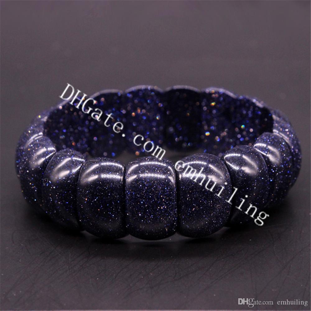 10pcs Synthetic Marinha Crystal Blue Arenito Pulseira Moda elegante Bangle Handmade Sparkly Gemstone wrap pulseira mão linha stretch Elastic