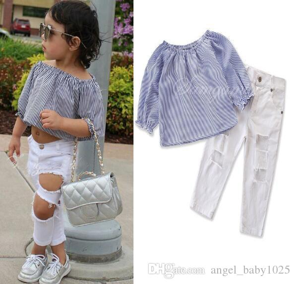 Nouveau mot rayé à manches longues vêtements pour enfants ensemble modèles d'explosion filles mignonnes épaule chemise + pantalon trou blanc