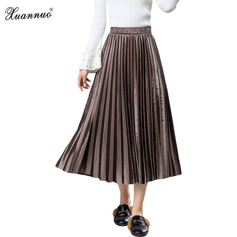 Xuannuo Pleated Women Skirts Casual Solid Gold Velvet Long Skirt High Waisted Lace-up Skirt Corduroy Big Hem Fashion 2018 Y190411