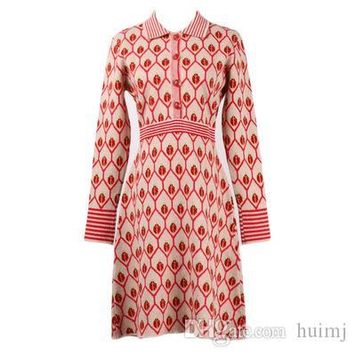 겨울 감미로운 빨간 무당 벌레 니트 복장 통로 디자이너 긴 소매 여성 당 스웨터는 옷 인쇄 여자 GR 를 옷을 입습니다