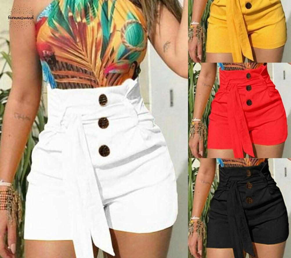 Bicchierini di marca 2019 donne di nuovo modo di estate signora alla moda a vita alta Belt Shorts Button Solid casual Abbigliamento Donna