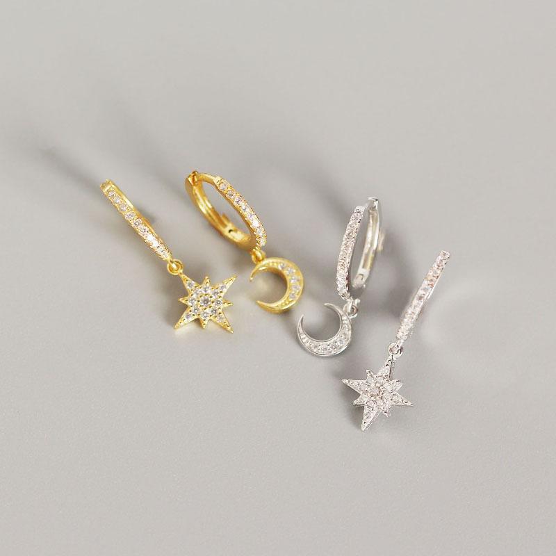 S925 plata esterlina estrellas y la luna Asimetría personalidad Pendientes de plata cuelgan el partido pendientes de la manera del estilo de oro pendientes de la señora joyería