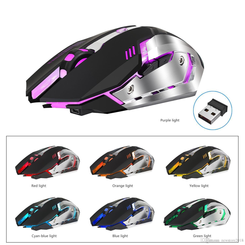 N fabrika fiyat 2400 dpi Şarj Edilebilir 7 Renk Aydınlatmalı Solunum Konfor Oyun Kablosuz Oyun Faresi Bilgisayar Masaüstü Laptop için u401