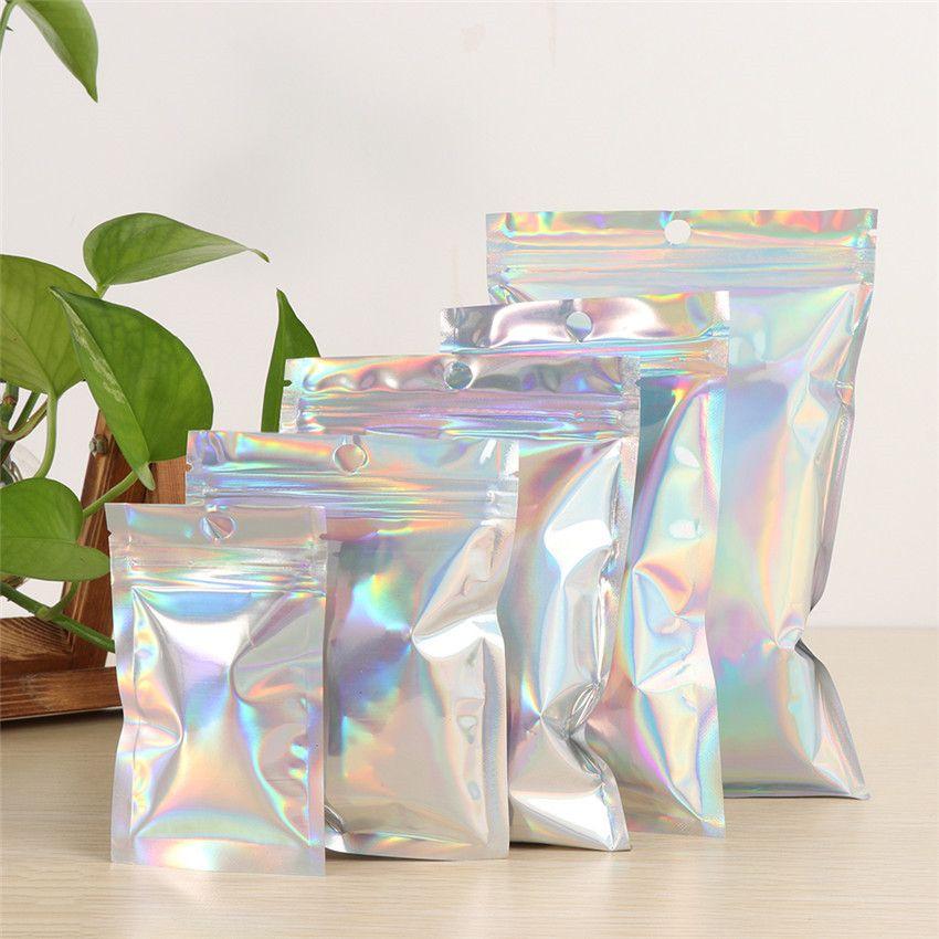 Umschläge Laser Holographic Selbstdichtungs-Kleber aus Kunststoff Tasche Mailing-Speicher-Beutel-Geschenk Schmuck Nüsse Verpackung Zip-Verschluss-Beutel-Paket-Beutel E3203