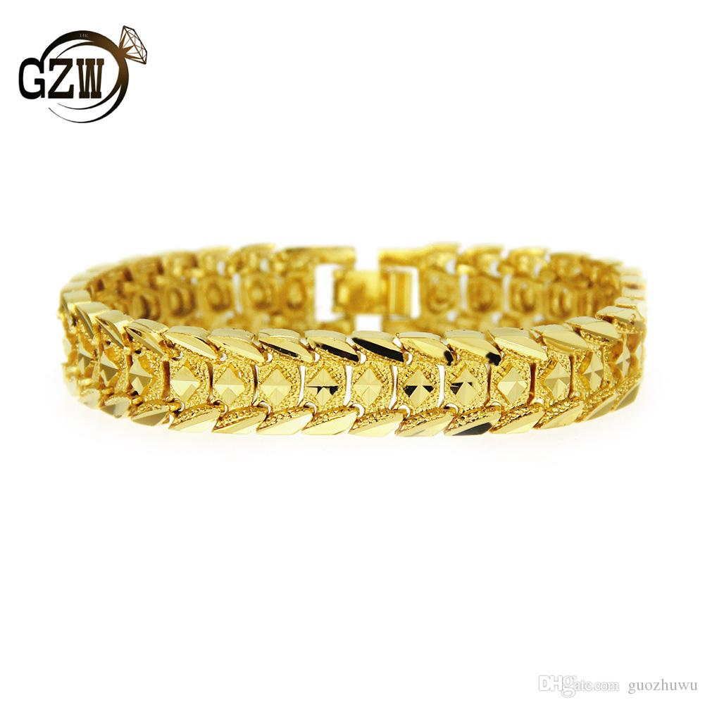 New Fashion 12MM guys Gold Plated Vintage Wide Snake Chain Mens Bracelet Wristband Hip Hop Rapper Jewelry Birthday Gifts for Men Boys