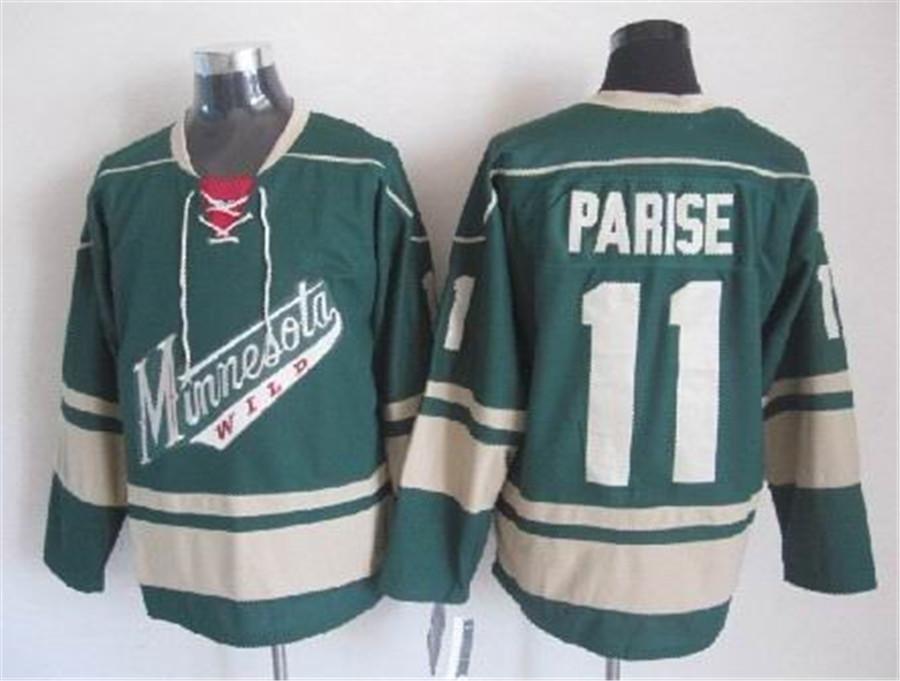 Minnesota Wild Jesey 11 Zach Parise Jeseys Yeşil Krem Kırmızı Yüksek Kalite Vintage CCM Dikişli Özel Fırsat Hokeyi Formalar