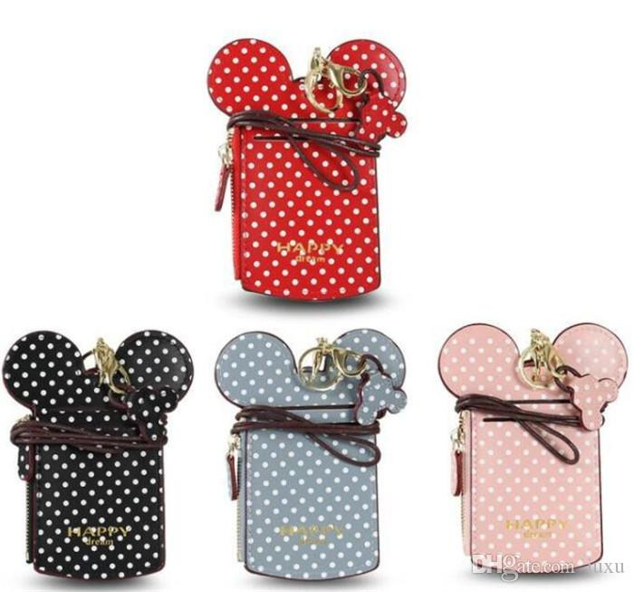 JUXU 4 Colors New Dots Kids Coin Purse Name Credit Card Holderss Cartoon Ear Letter Happy Dream Lanyard Neck Strap Card Holder