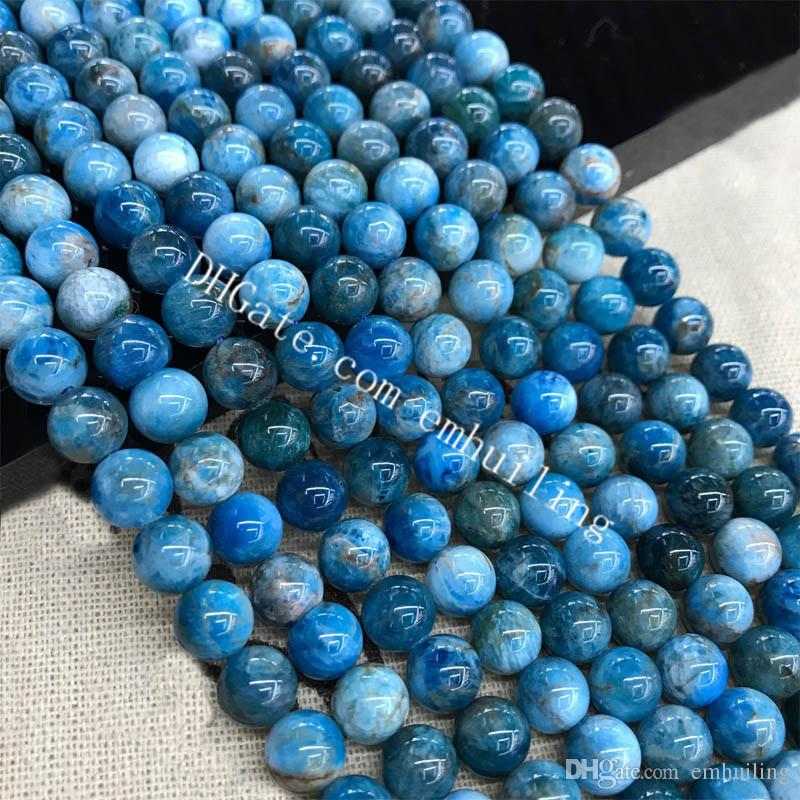 Wholesale 6mm 8mm 10mm Polished Smooth Round Rare Brazilian Natural Blue Apatite Gemstone Loose Spacer Beads 10 Strands for Jewelry Making