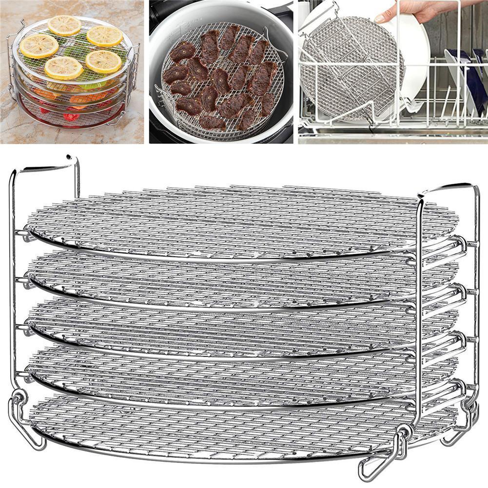 Grande capacité Grill stand Air Fryer avec cinq couches superposables de qualité alimentaire en acier inoxydable déshydrateur rack Accessoires de cuisine