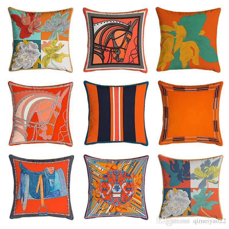 2PCS 45 * 45cm Hermes Serie Arancione cuscini Cavalli Fiori Stampa Copricuscino per la casa poltrona Decorazione quadrati Federe
