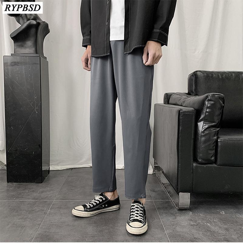 Bahar Yeni Moda Casual Suit Pantolon Erkek İş Pantolon Boş Düz Yabani Yüksek Kalite Gevşek Katı Renk Harem Pantolon Erkekler