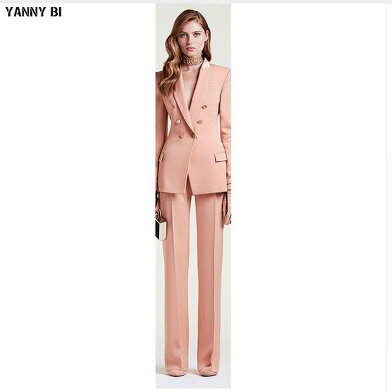 nuova giacca + pantaloni donna vestito da lavoro femminile ufficio uniforme delle signore formale vestito pantalone doppio petto Womens Tuxedo personalizzato
