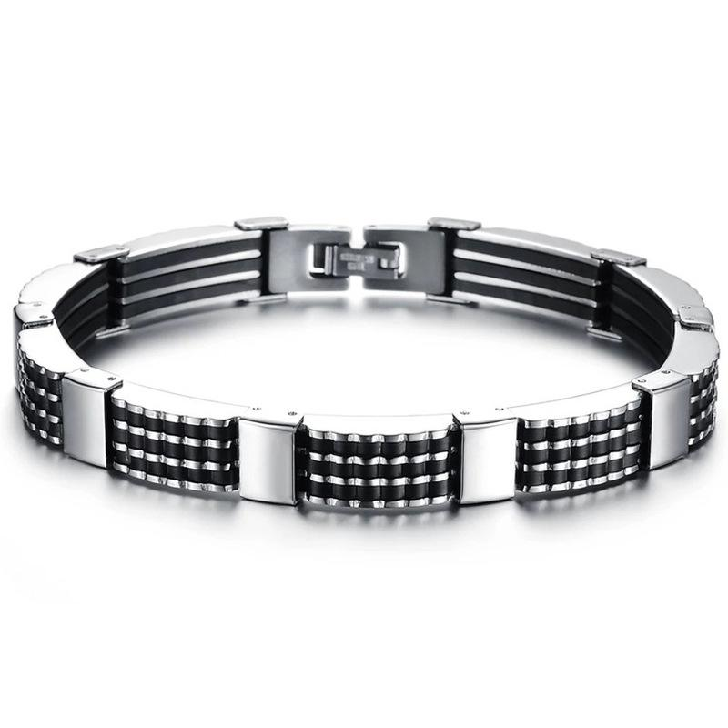 Fashion Rubber Stainless Steel Men/'s Rock Clasp Bracelet Wristband Bangle Punk