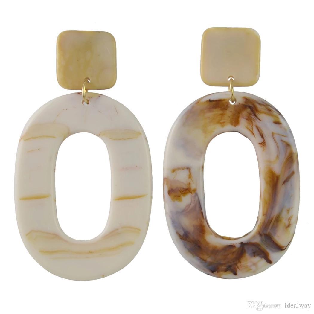 2 colori di stile donne di Fahion forma ovale Ambra Serie circolare acrilico lungo di goccia ciondola gli orecchini gioielli