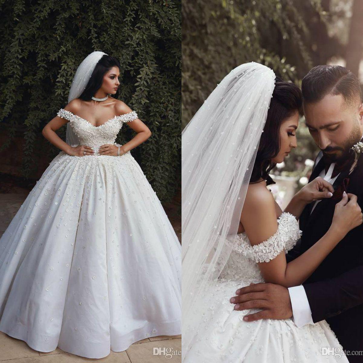 Саудовская арабский бальное платье свадебное платье с плеча кружева Свадебные платья из бисера аппликация Плюс Размер свадебное платье сшитое