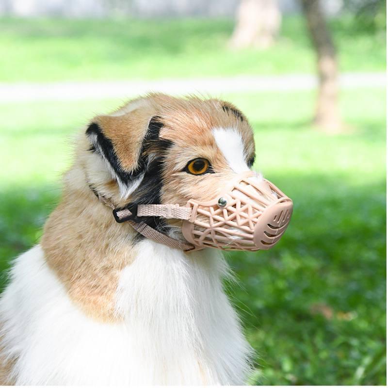 Regolazione plastica Cani Pet Dog Muso muso forte Basket Design Cinghie Anti-mordere Maschera Dog Anti-Bark Chew museruole