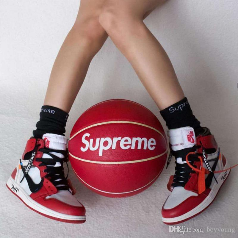 Clone Fashion Red Basketball limited edition NO.7 Fancy street Wear-resistant Leather basketball ball for Men and Girl