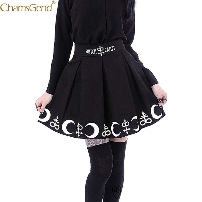 tasarım yaz eteklerle Kadınlar Gotik Punk'ın etekler kadın Cadılık Ay Sihirli Yazım Sembolleri Siyah Mar womens
