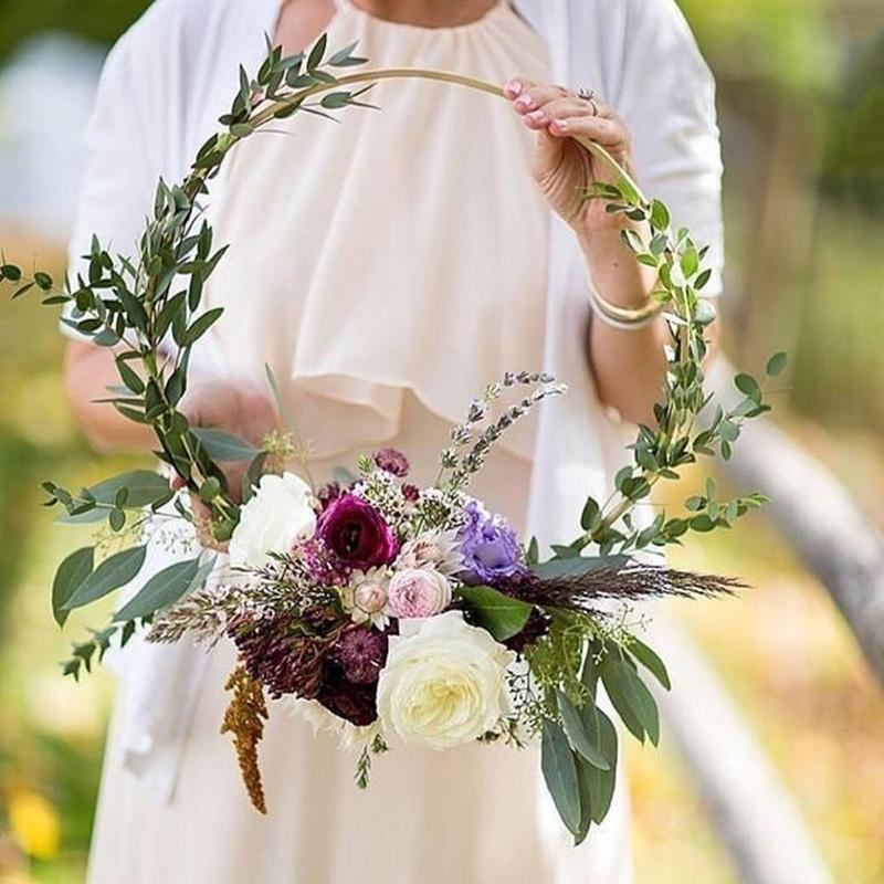 10-35Cm Золото Железный Металлическое кольцо Венок Венок Baby Shower цветочные венки Свадебные украшения невесты Цветы Хооп Декор Другое Праздничная группа Supp