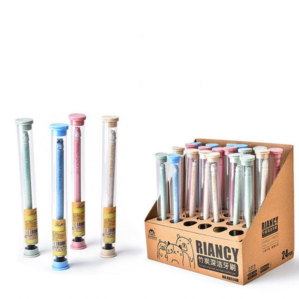 Envriomental amigável Trigo Stalk Escova de carvão de bambu teethbrush macia portátil Escova de Adultos e Crianças de viagem Use tubo de PVC Pacote