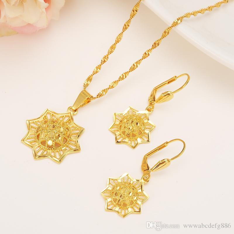Ethiopian 14k Yellow Solid Fine Gold GF Filled set Jewelry Anise Pendant Chain Earrings African Bride Wedding Technology Bijoux