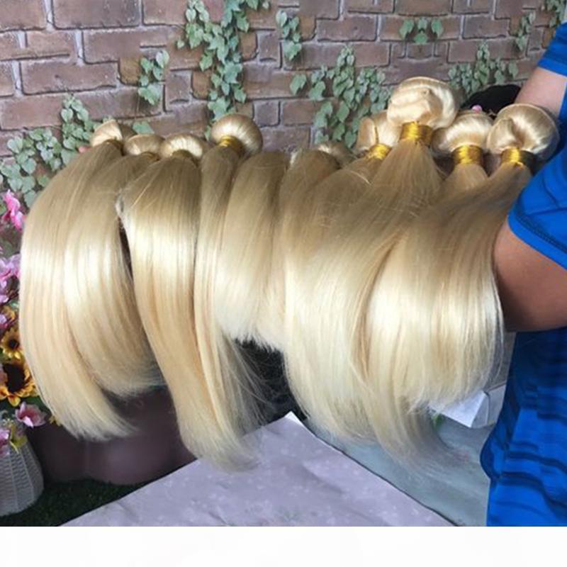 Brezilyalı Perulu Malezyalı Bakire Saç Dokuma 613 Sarışın Paketler Whoesale Düz Vücut Dalga 1B 613 Ombre Sarışın İnsan Saç Dokuma atkıları