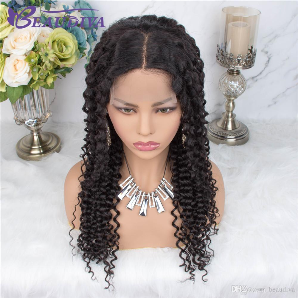Beaudiva 4 * 4 Kinky Curly Lace Wigs Parte Perucas Médio Cabelo Humano Pré arrancado da linha fina com bebê cabelo da Malásia Lace Wigs