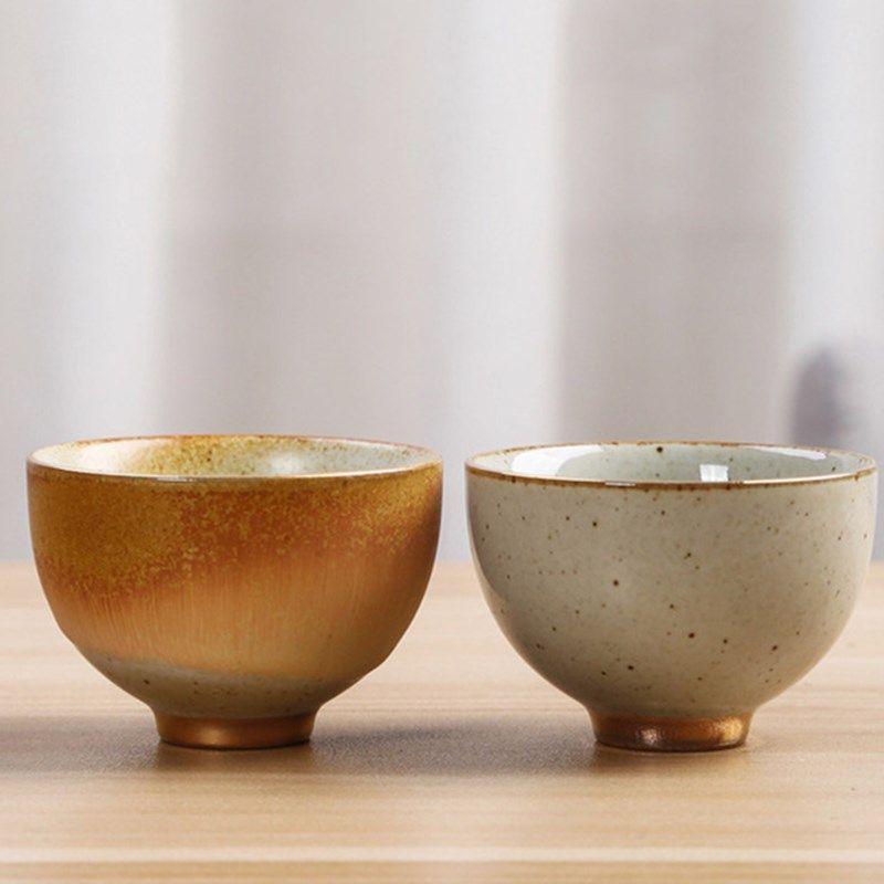 Vintage Coarse Pottery Tea Cup Japanese Style Rust Glaze Teacup Pu'er Master Cup Ceramic Crafts Tea Set Handmade Small Bowls