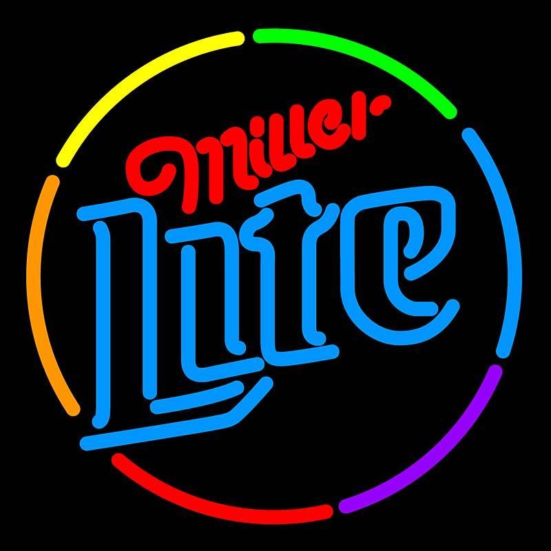 Miller Lite Multi Color Circle Neon Sign Beer Hair Cut Bar Christmas Led Neon Lighting Sign