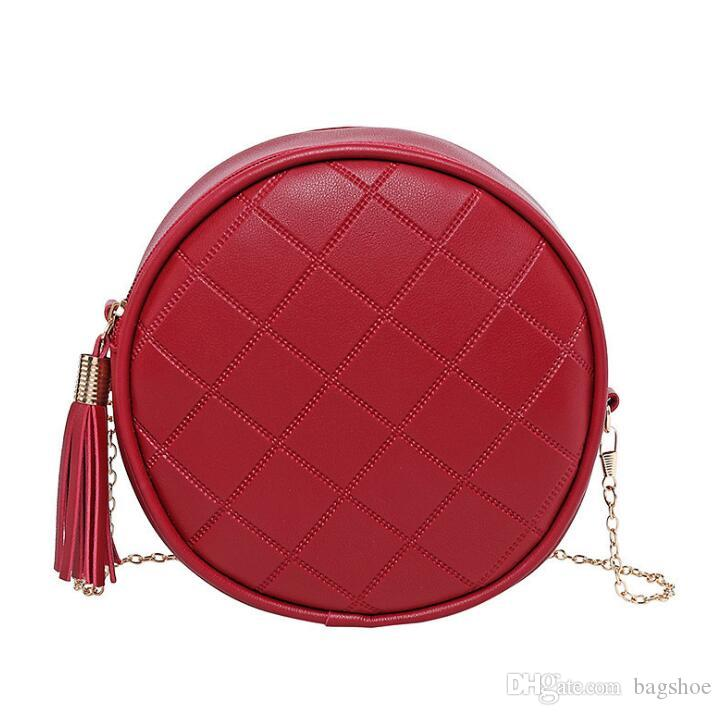 Summer and autumn rhombic tassel ladies change small round bag shoulder diagonal chain gift wholesale Cross Body