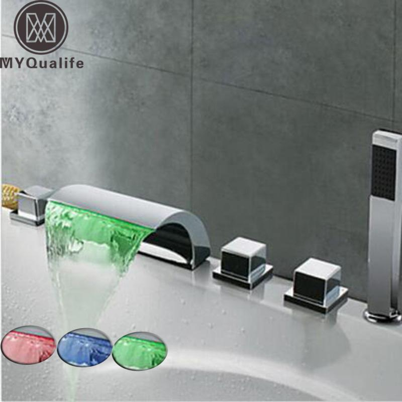 LED الشلال حوض الحنفية على نطاق واسع حوض المغسلة خلاط صنبور كروم / أسود البرونزية النحاس الحمام حمام صنبور دش مع Handshower