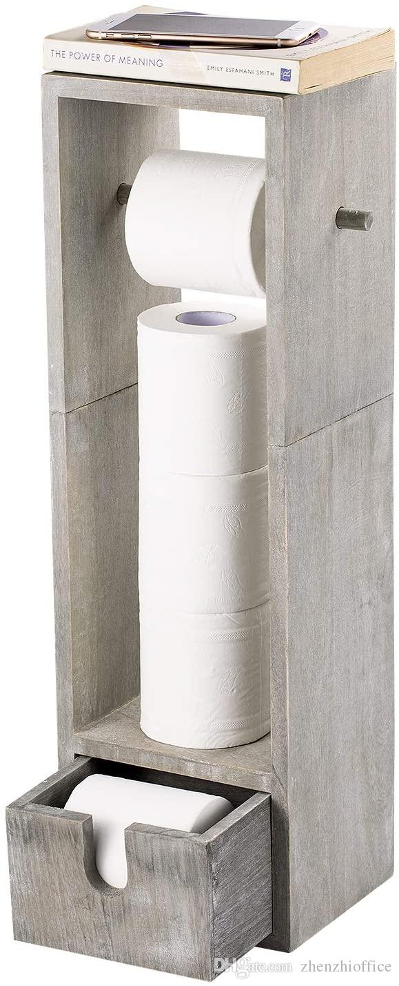 Papel higiénico titular, baño de papel higiénico rollo de papel del sostenedor del soporte y el dispensador con el almacenamiento, rústica gris-verde