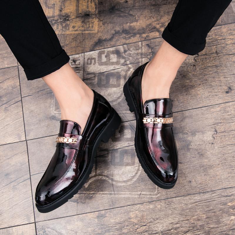 calçados masculinos italianos casual wear sapatos formal couro Lok Fu preto liso confortável oxford clássico