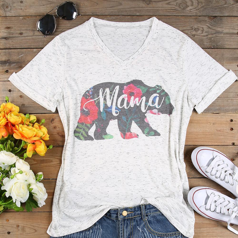 Artı boyutu T Shirt Kadın V Yaka Kısa Kollu Yaz Çiçek Anne Ayı Tişörtlü Casual Kadın Tee Bayan Moda T Gömlek 3XL Tops