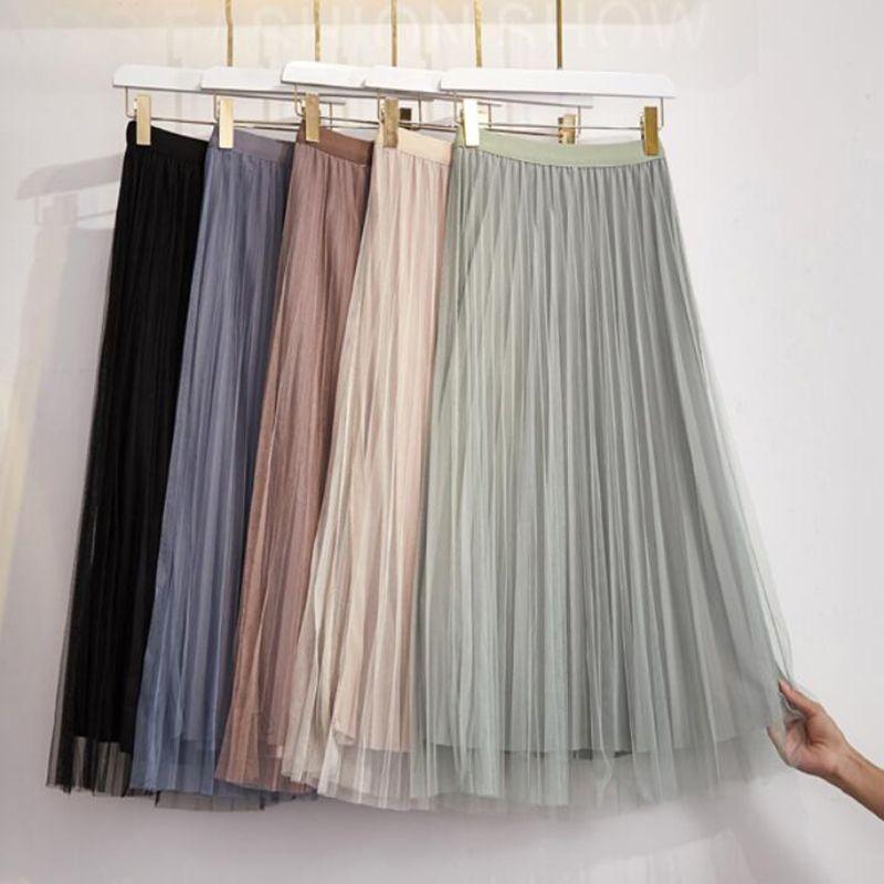 Desgaste de ambos os lados Mulheres Tulle Saias 2020 New coreano sólida veludo cor Gold malha saia longa de cintura alta Uma linha saia plissada