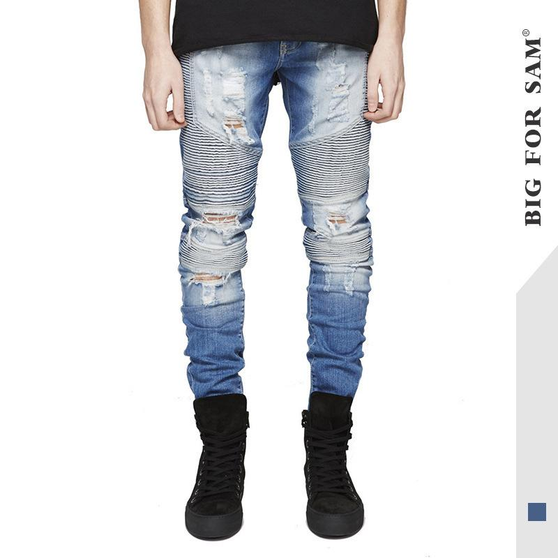 Cool2019 Lokomotivmarke Tide Elastic Force Stripe Scratch Bettlerhose Selbstkultivierung Klein Direkt Kanister Mann Löcher Jeans