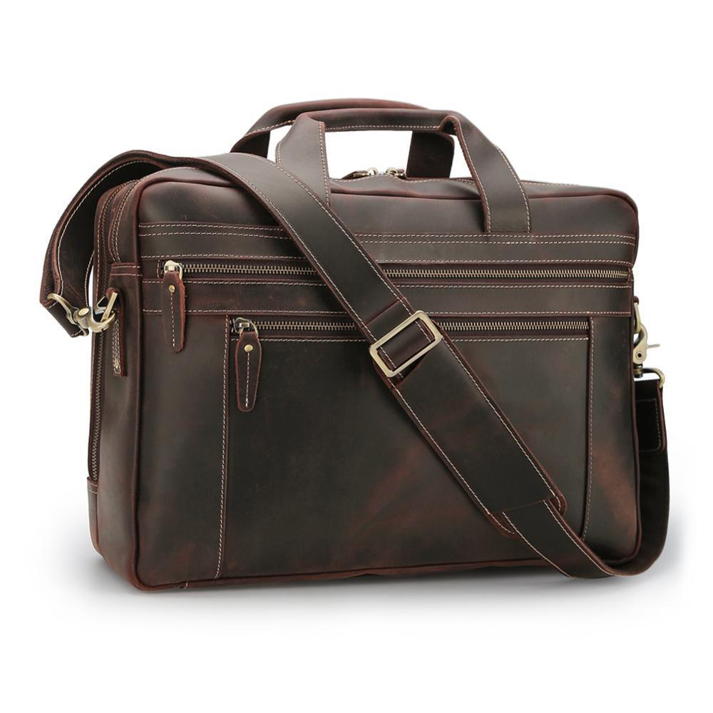 Bag Leather Men Shoulder Messenger Satchel Briefcase Laptop Brown Handbag