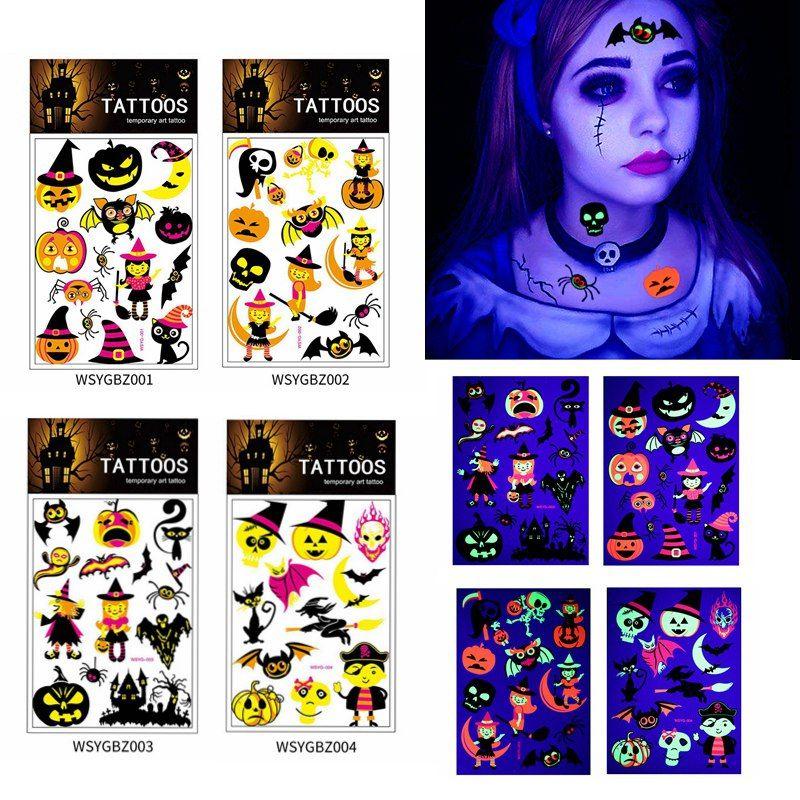 Parti Güzellik HHA811 için Cadılar Bayramı Floresan Geçici Dövme Çıkartma Çevre Dostu Çocuklar Kabak Hayvan Karikatür Dövme plakası