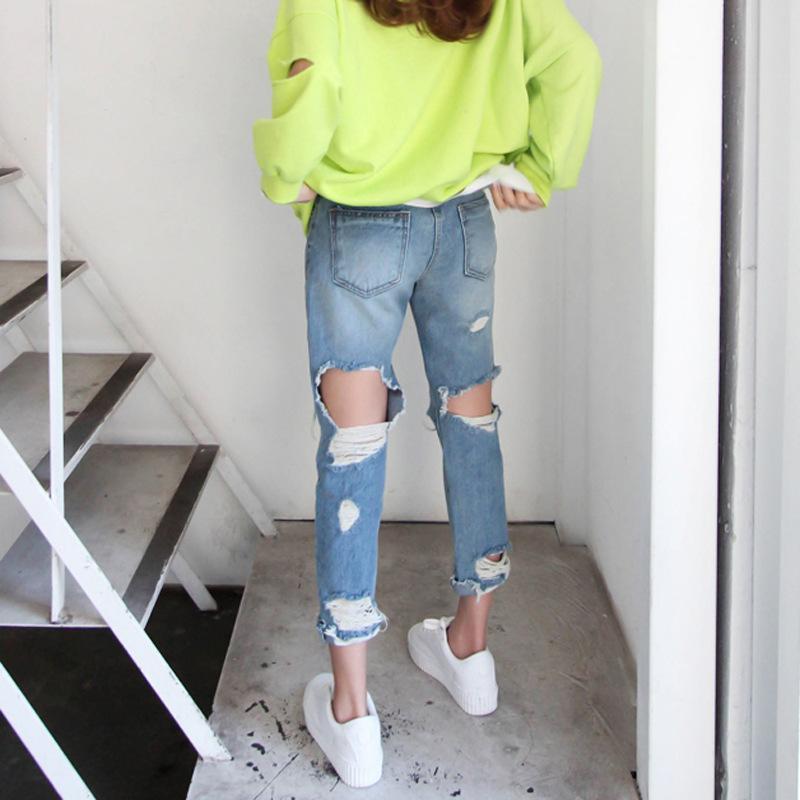 Рваные женские джинсы Denim голубой тощий высокой талией карандаш брюки Молнии Ankle- Длина Брюки