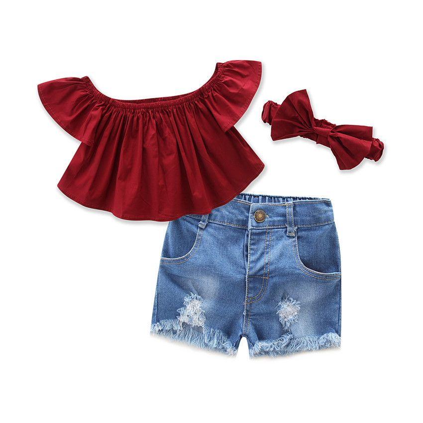 Summer 2019 New Kids Fashion Girls Clothing Sets 3 pcs T-shirt + pants Headband suits for Girls Clothes Children Clothing