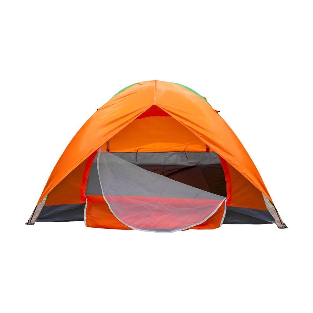 Camping tente 2 personne étanche double porte pli en plein air voyage de randonnée dôme dix orange vert 180T plâtres en argent