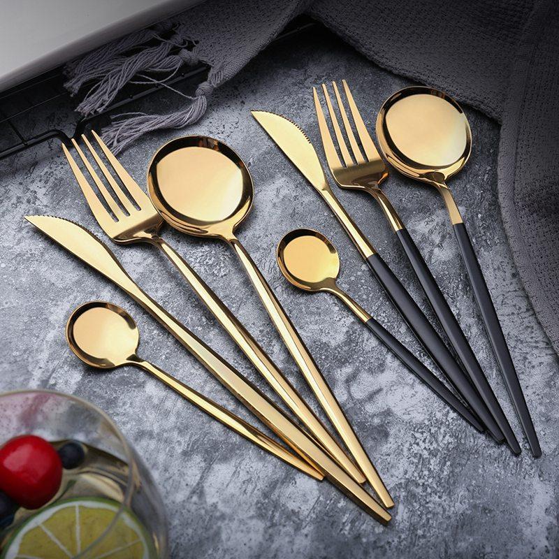 Edelstahl Spiegel Geschirr Gold-Messer Mahlzeit Löffel Gabel Kaffeelöffel Bestecke Einfach Exquisite westliche Abendessen Bestecke 4 Farben HHA690